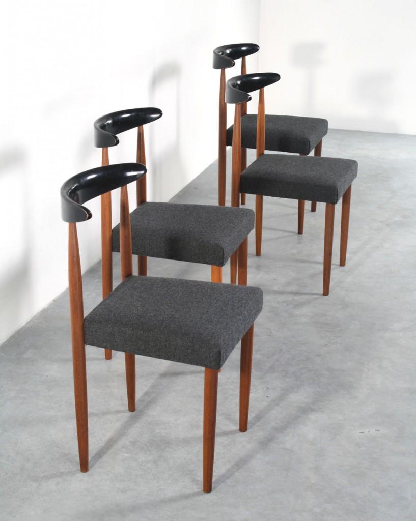 Sixties design teak chairs retro stoelen