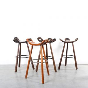Spanish bar stools brutalist barkrukken retro wood