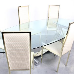 Romeo Rega design table chairs dinner set glass brass Italy