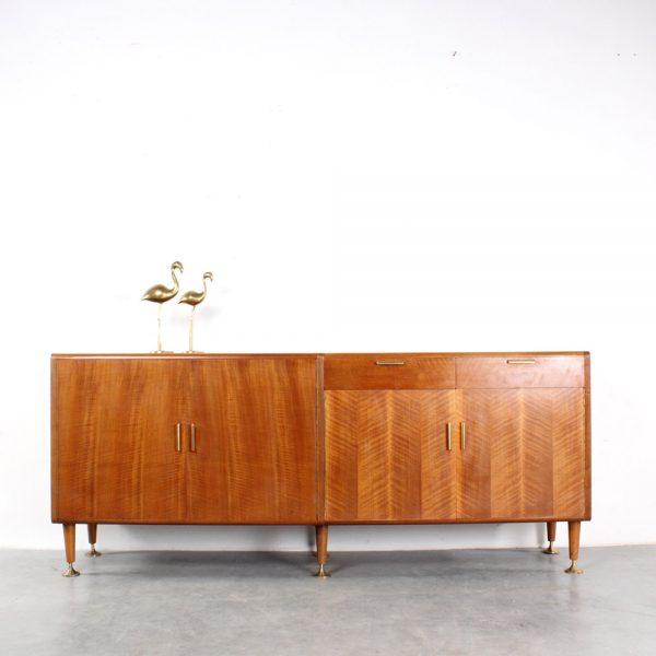 Patijn sideboard design walnut dressoir fifties brass