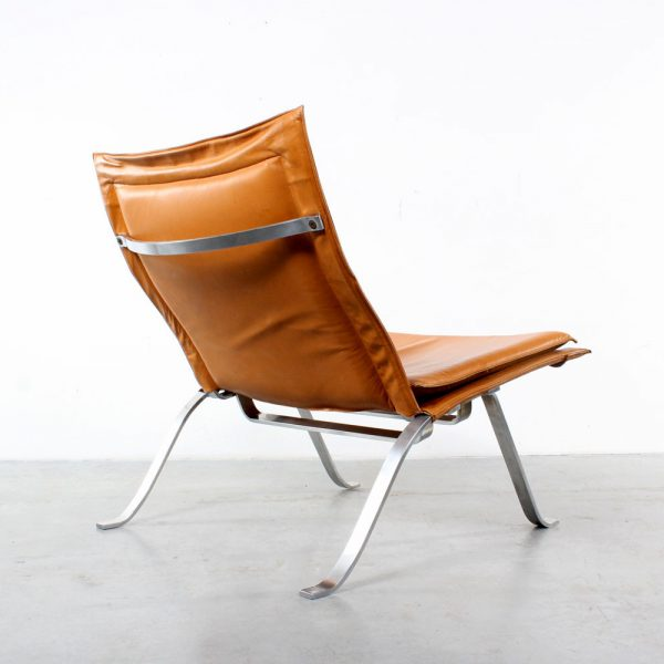 Leather steel design chair retro vintage