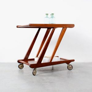 Teak tea trolley bar cart retro design Webe style