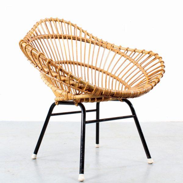 Rattan design chair Rohe Noordwolde fauteuil rotan vintage