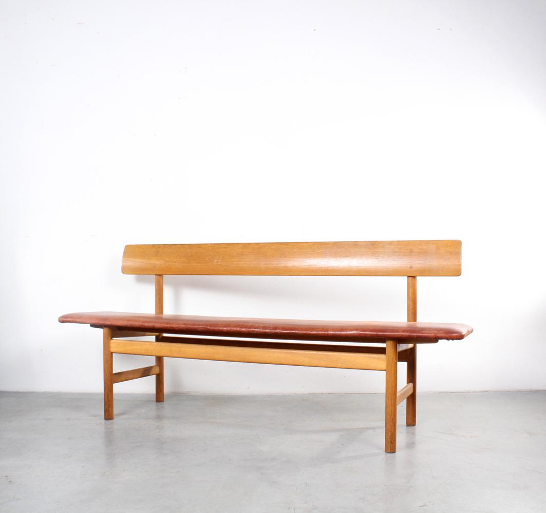 Borge Mogensen bench 3171 Danish design oak leather