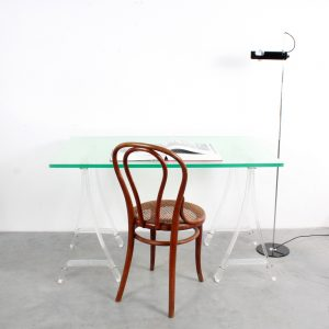 Lucite desk table trestles plexiglass