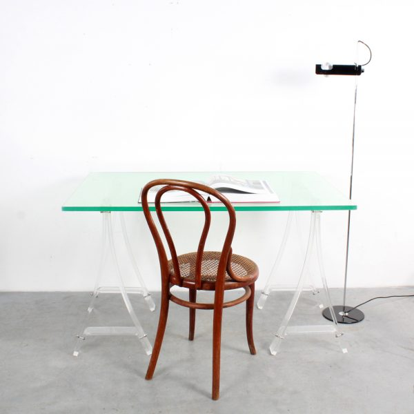 Lucite desk table trestles plexiglass