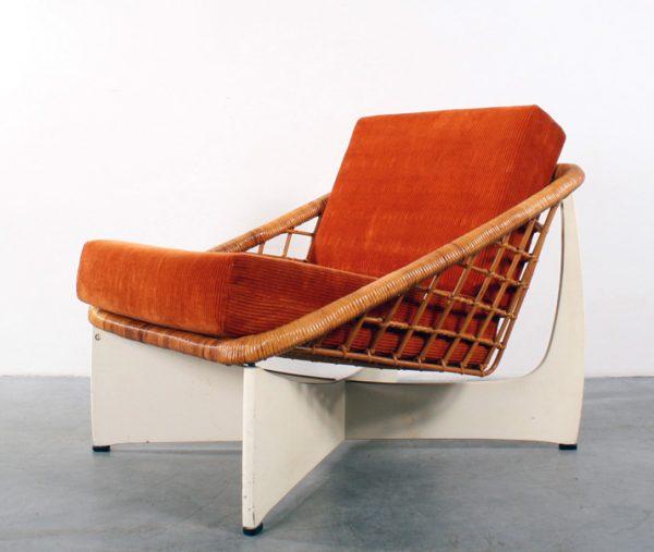 Pastoe chair design Gebr Jonkers rattan rotan