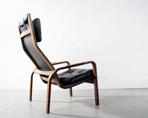 Swedese design Yngve Ekstrom chair fauteuil wengé leather