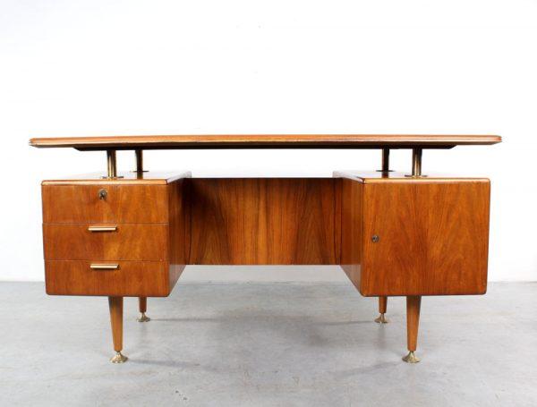 Bureau desk walnut design fifties Patijn brass Poly-Z Zijlstra
