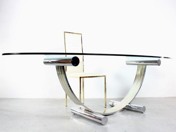 Romeo Rega design table chairs dinner set glass brass Italy