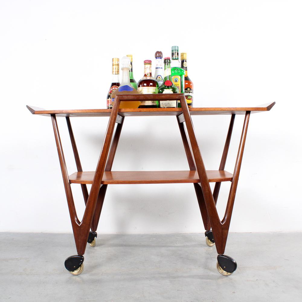 Teak serving trolley design bar cart Danish