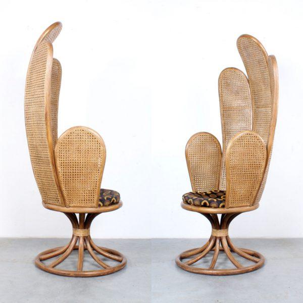 Highback rattan chair retro design webbing