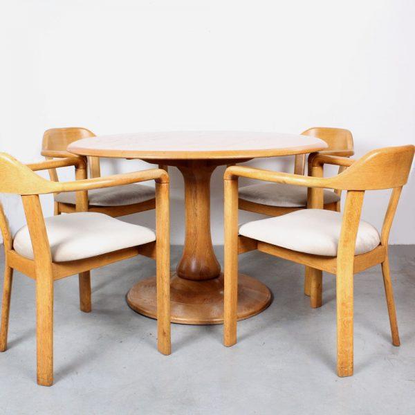 Oak dining table chairs Danish design