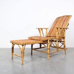 Adjustable rattan lounge chair