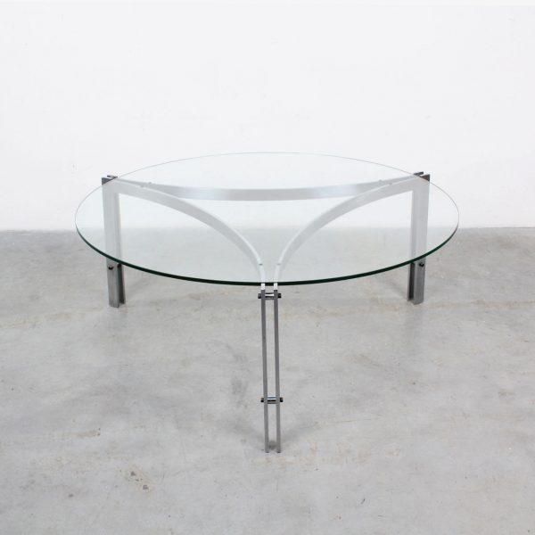 Glass steel round coffee table